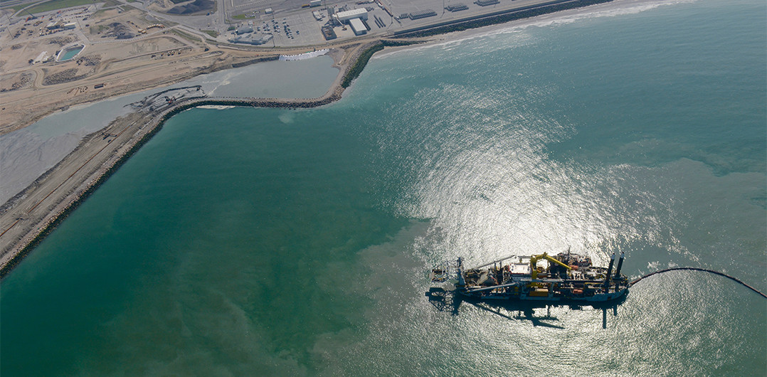 Aerial view of the dredger